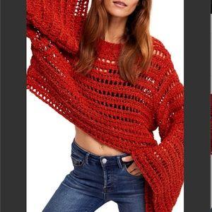 Free People | Orange Bell Sleeve Crochet Top Med